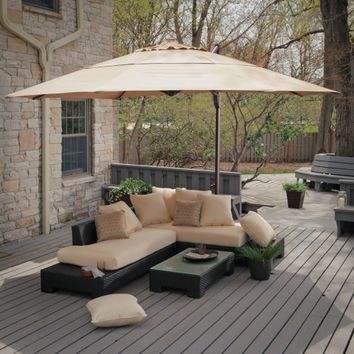 Belham Living Sheffield Sunbrella All-Weather Wicker Sectional Set-Seats 5 | www.hayneedle.com