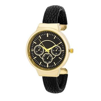 Reya Gold Black Snake Skin Leather Cuff Watch