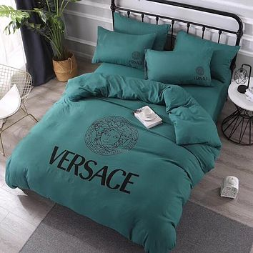 Luxury Versace Designer Home Blanket Quilt coverlet 2 Pillows Shams 4 PC Bedding Set