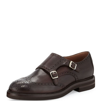 Leather Monk-Strap Wing-Tip Loafer, Brown - Brunello Cucinelli