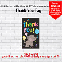 Instant Download, Baby Elephant #1042 gift tag, baby shower, kids party, Thank you TAG, 3.5x2inch printable, non-editable NOT CUSTOMIZABLE