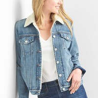 Icon sherpa-collar denim jacket|gap