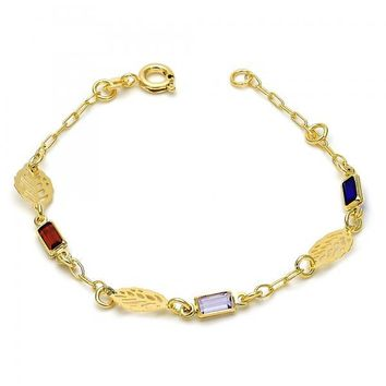 Gold Layered 03.02.0030.06 Fancy Bracelet, Leaf Design, with Multicolor Crystal, Polished Finish, Gold Tone