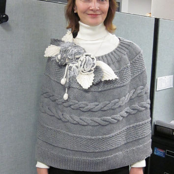 Hand-knitted  Grey Shawl / Cable Patterned / Capelet / Wrap / Shrug/ Poncho