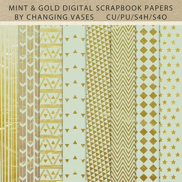 Digital Scrapbook Paper Pack Mint and Gold, Geometric Arrows Stripes Chevron Stars Pattern, Texture, Clipart Clip Art, Photo Background