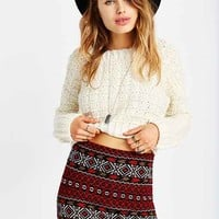Ecote Geo Sweater Mini Skirt- Red Multi