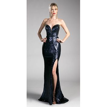 Sequins Navy Blue Strapless Evening Gown Sweetheart Neckline with Slit