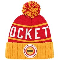 Mitchell & Ness Houston Rockets High Five Cuffed Knit Hat - Red/Gold