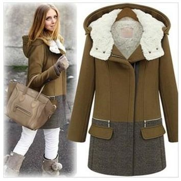 2017 Fashion autumn winter coat women plus cotton thicken wool jacket plus size woolen coat outwear trench coat with a hood