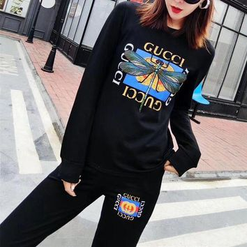 DCCK6HW Gucci' Women Casual Fashion Embroidery Dragonfly Letter Pattern Print Long Sleeve Trousers Set Two-Piece Sportswear