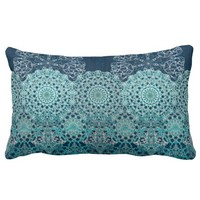 Elegant laced turquoise pattern throw pillow