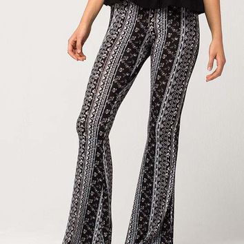 FULL TILT Linear Floral Diamond Womens Flare Pants | Pants + Joggers