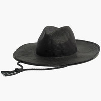 Wide-Brimmed Straw Fedora Hat with Leather Cord
