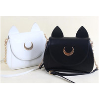 White/Black Sailor Moon Luna/Artemis Shoulder Bag SP152413