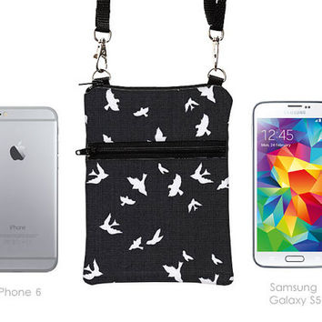 Travel Cell Phone Purse, Small Cross Body Bag for Passport, Colorful Sling Bag fits Passport, Phone Crossbody  - charcoal white birds