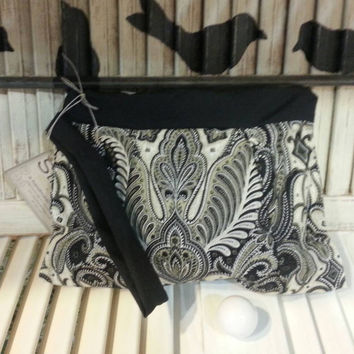 Clutch Cream and Gold Paisley  Handmade Makeup Bag