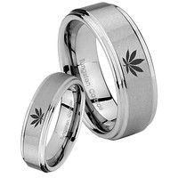 His Hers Marijuana Leaf Step Edges Brushed Tungsten Wedding Engagement Ring Set