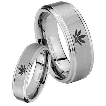 His and Hers Step Edge Leaf Tungsten Silver Wedding Rings Set