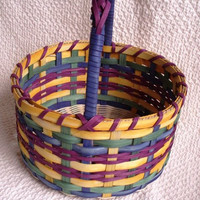 Easter Basket Handwoven in purple green blue and by basketsbyrose