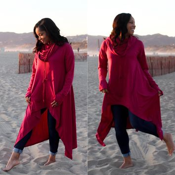 ~ Rosé Oversized Cowl Neck Tunic or Dress - You Decide