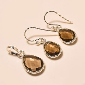 Smoky Quartz 925 Sterling Silver Pendant Set Handmade Pendant Set Gemstone Pendant Set Silver Pendant With Earrings