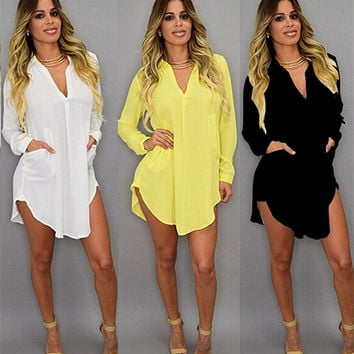 Summer Long Sleeve V-neck Irregular Chiffon Women's Fashion One Piece Dress [7770036871]