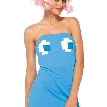 DCCKLP2 2PC.Pac Man strapless ghost tube dress,cherry head piece in BLUE
