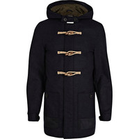 River Island MensNavy smart duffle jacket