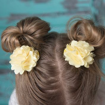 Yellow girl hair bow