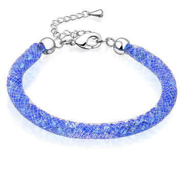 Stardust Deluxe Sapphire Blue Crystals Bracelet 18k GP Wire Mesh Jewelry Gift HOT SALE Fashio Jewelry Gift B490