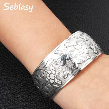 Sebalsy Punk Turkish Tibet Silver Color Open Wristbands Big Flowers Bracelets & Bangles for Women High Quality Party Accessories