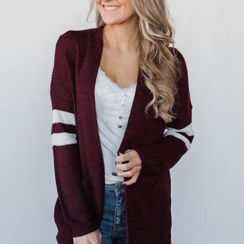 Varsity Stripe Knitted Cardigan - Burgundy