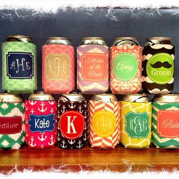 Monogram Can Koozie Personalized Can koozie, Beer Koozie