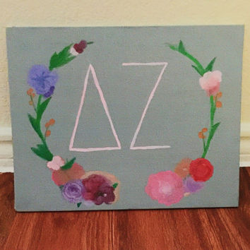 Delta Zeta Laurel Wreath Canvas Panel