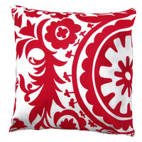 Red  Pillow Cover- Red & White Suzani Decorative Pillow Cover-Decorative Pillow 16 x 16