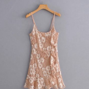 Autumn lace strap dress