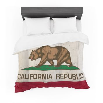 "Bruce Stanfield ""California Flag Wood"" Brown Featherweight Duvet Cover"