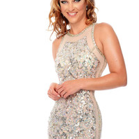 Precious Formals P9160 High Neck Sheer Illusion Sequin Prom Dress