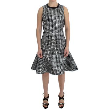 Silver Metallic Jaquard Fluted Hem Shift Dress