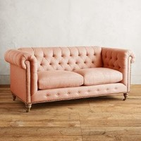 Belgian Linen Lyre Chesterfield Petite Sofa, Wilcox by Anthropologie