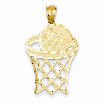 14 Yellow Gold Basketball in Hoop Charm Pendant