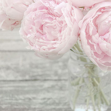 Flower Photograph, Pink Peonies in a Mason Jar, Fine Art Photography Print, Nursery Art, Pastel Pink, Gray, Shabby Chic Wall Art