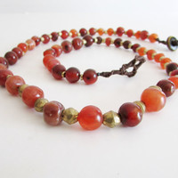 Tangerine Carnelian Boho Necklace, Ethnic Ecofriendly African Beadwork Jewelry, Women Necklace