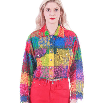 80s Vintage Shaggy Colorful Plaid Cropped Fringe Jacket Rainbow Club Kid Festival Clothing Womens Size Small Medium