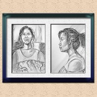 Original Pastel Sketches of an Oriental Girl