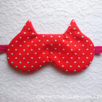 Kitty Ears Sleeping Mask - Soft Fleece - Cotton Dark Comfortable - Cute Cat Nap Eye Cover - Women - Teen Girl - Hot Pink - Red White Hearts