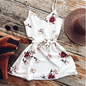 Women Fashion V-neck Sleeveless Spaghetti Strap Floral Mini Dress Casual Chiffon Cocktail Party Loose Mini Dresses
