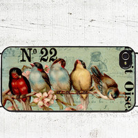 Vintage Birds Cell Phone Case - iPhone 4, 4s Case - iPhone 5 Cover - Gifts Under 25