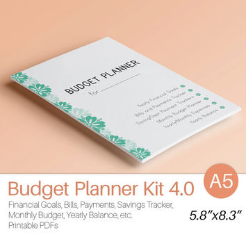 A5 BUDGET PLANNER Filofax Inserts Monthly Financial Binder Junior Size Bills Savings and Expenses tracker printable 12 docs Instant Download
