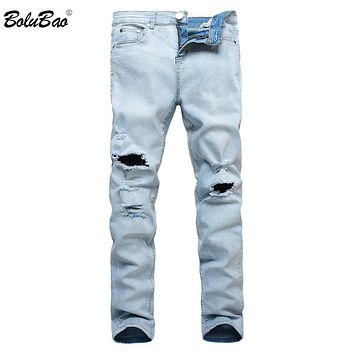 New High Street Fashion Men Jeans Light Blue Color Denim Ripped Jeans Men Skinny Distressed Designer Pants Joggers